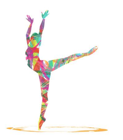 白い背景の上のダンサーの抽象的なシルエット