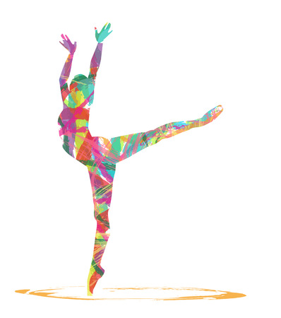 abstract Silhouettes of dancer on a white background