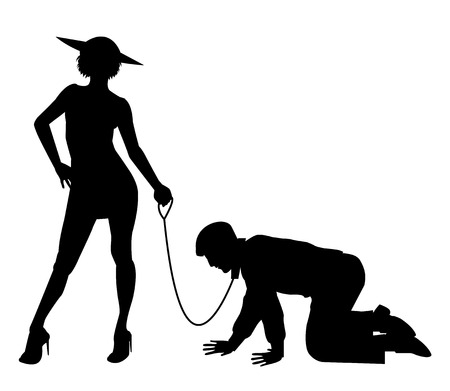 slavery: silhouette of woman holding man on a leash