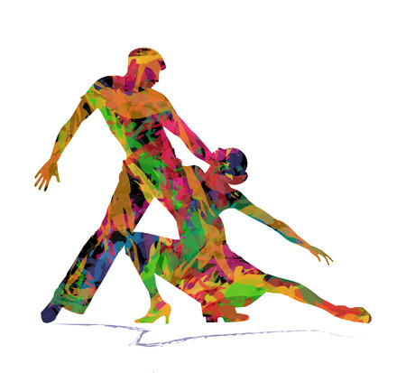 abstract dancing couple on white backgroun