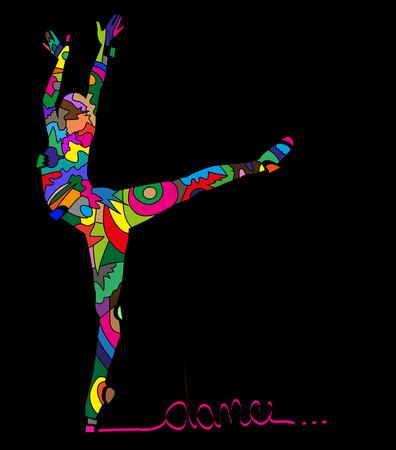 黒の背景のダンサーの抽象的なシルエット