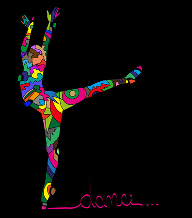 abstract Silhouettes of dancer on a black background Illustration