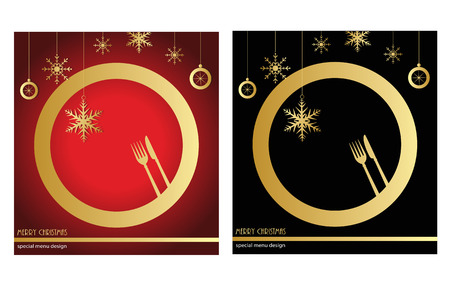 solemnity: Christmas menu in red and black Illustration