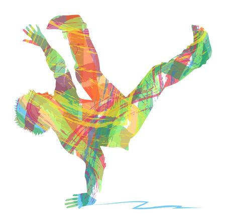 silhouette of dancer hip hop Illustration