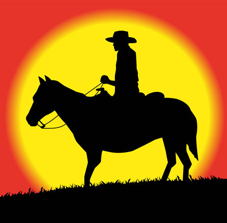 herdsman: silhouette of cowboy on horse in the sunset