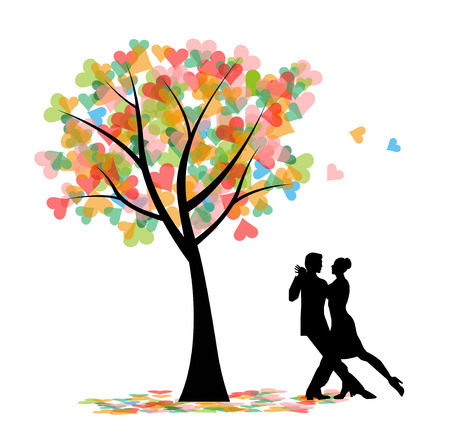 Tango dancers and tree with hearts