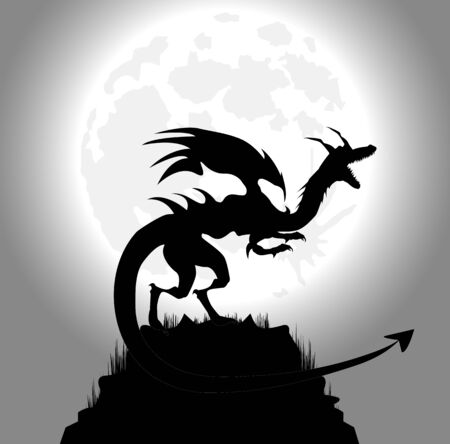 dragoon: dragon in the night and full moon