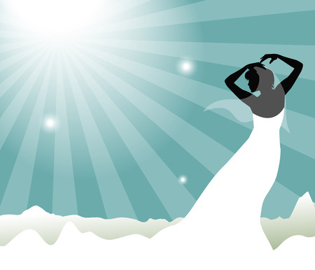 matrimonial: bride silhouette in the blue sky Illustration