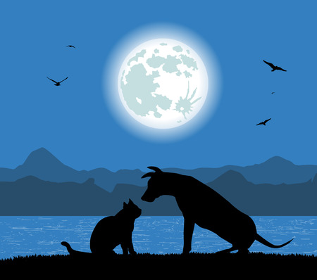 silhouette of dog and cat under the full moon 向量圖像