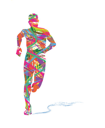 abstract silhouette of man running Vectores