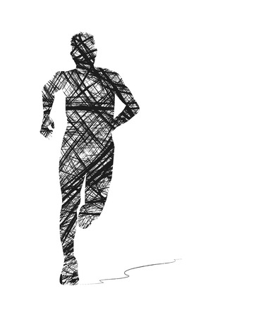 abstract silhouette of man running 向量圖像