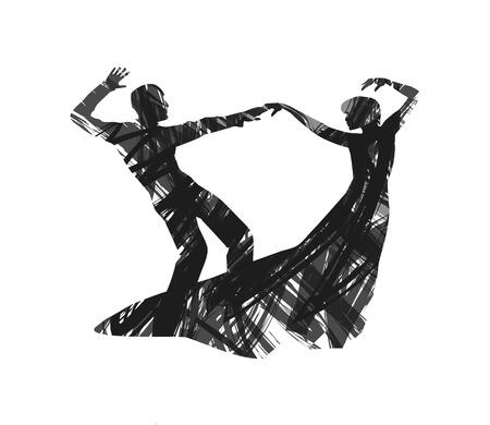 抽象的な白い背景の上のカップルのダンス