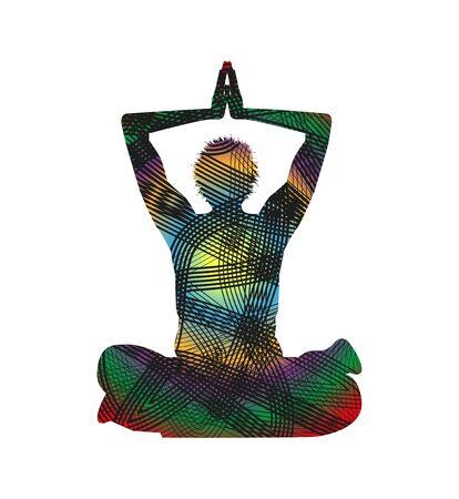 man meditating: man silhouette meditating Illustration