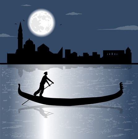 gondolier: gondola silhouette and the sea in the night