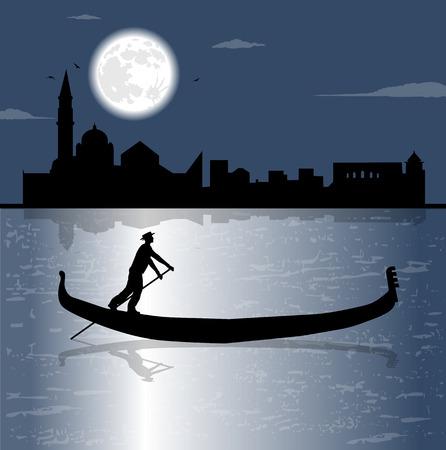 gondola silhouette and the sea in the night