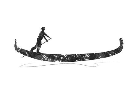 abstract gondola silhouette  イラスト・ベクター素材
