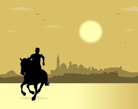 silhouette of horse and city in the background