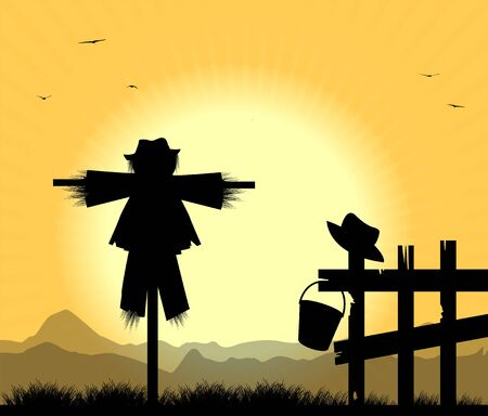 bugaboo: silhouette of scarecrows