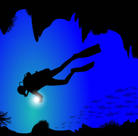 oxygen mask: silhouette of diver on the seabed