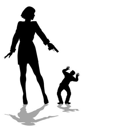 woman pointing a gun at a little man