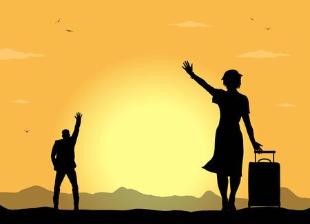 silhouettes of people greet