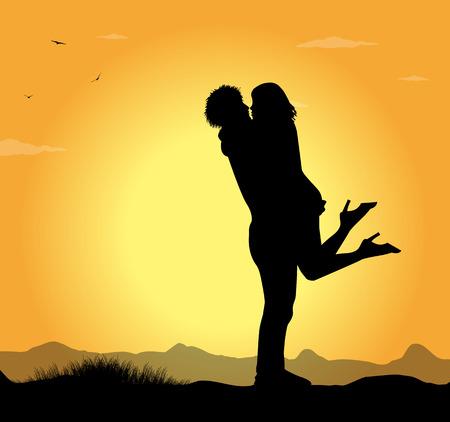 Silhouette der Liebhaber in den Sonnenuntergang