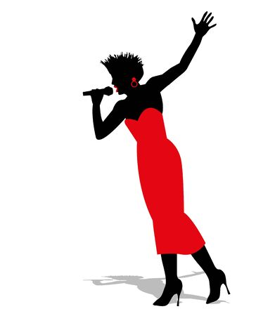 melodious: silhouette of a singer Illustration