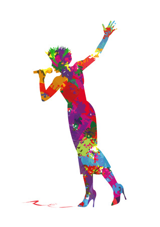 abstract silhouette of a singer Illustration