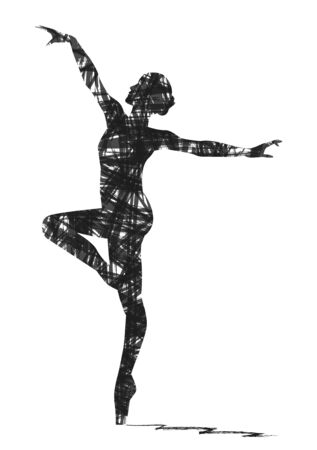 pirouette: abstract silhouette of a dancer
