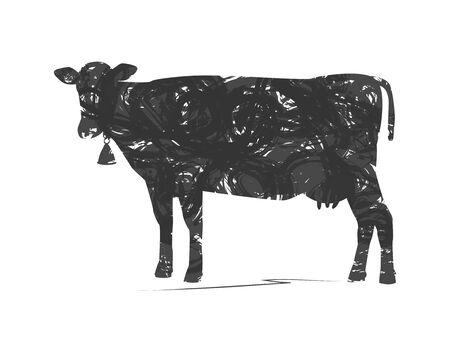 agrario: silueta abstracta de vaca Vectores