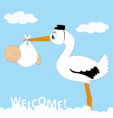suckling: stork with baby over blue sky with clouds