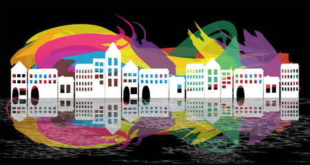 villas: village silhouette on abstract background