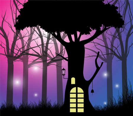 gnomes: fairy house in the enchanted forest Illustration
