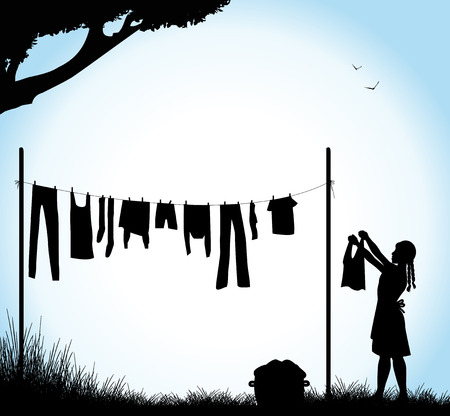 laundry: silhouette of girl who stretches the laundry