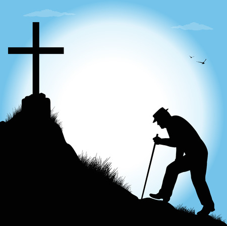 steady: silhouette of old man walking towards a cross Illustration