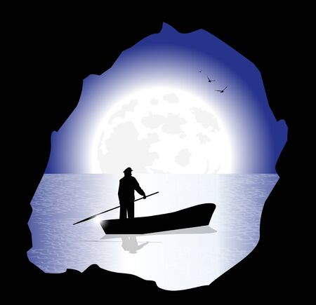 wharf: silhouette of fisherman in the night whit full moon
