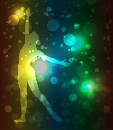 designates: dancer silhouette on abstract background