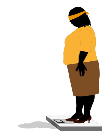 stout: ironic illustration of stout woman weighing herself blindfolded Illustration