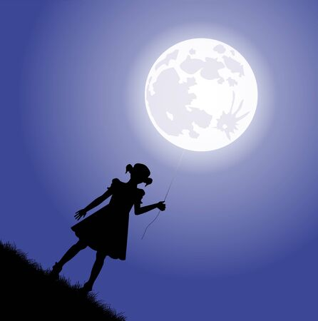 tied girl: little girl silhouette holding tied the moon