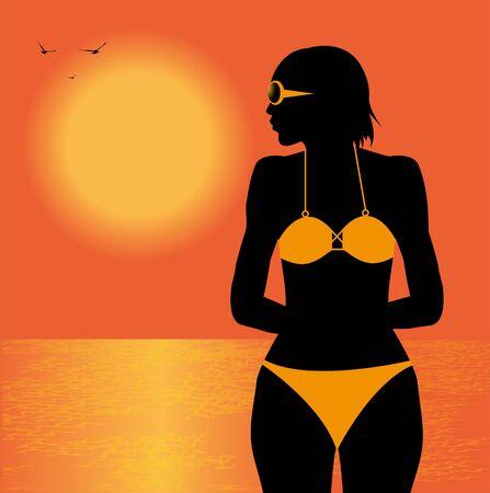 silhouette of girl in bikini on the beach