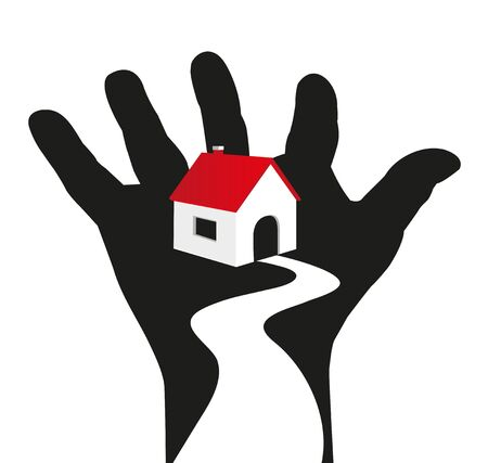 villas: symbolic illustration of house resting on  hand Illustration