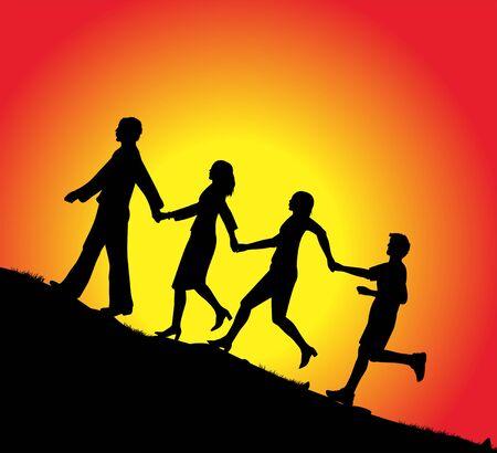 Familie in den Sonnenuntergang