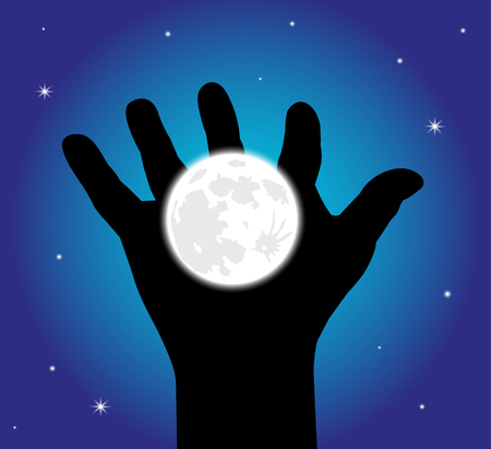 scenario: in a starry sky hand holding up the moon Illustration