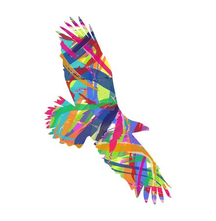 aviary: silhouette of eagle consists of colors Illustration