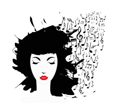 pentagramma musicale: volto di donna e note musicali