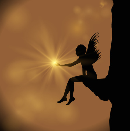 silhouette of angel holding a star
