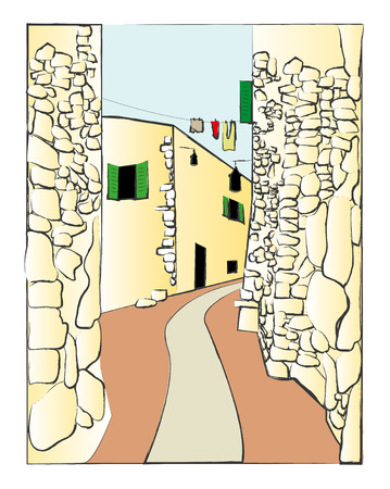 fortification: illustration of small road in the village