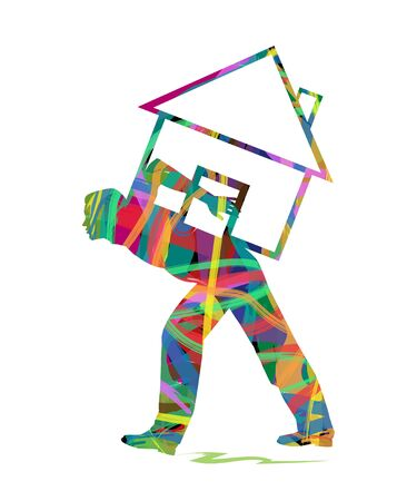 possession: abstract silhouette of man with the weight of the house on His Back