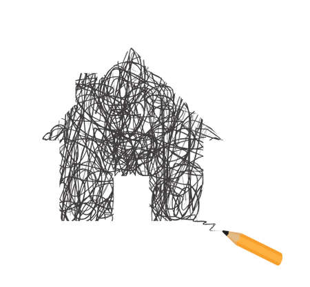 hotbed: House silhouette scrawled in pencil