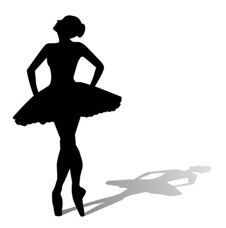 silhouette of dancer with shadow on white background